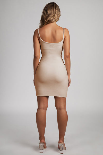 Leah Strappy Ribbed Bodycon Mini Dress - Nude - MESHKI