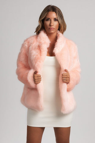 Baia Faux Fur Coat With Collar - Pink - MESHKI