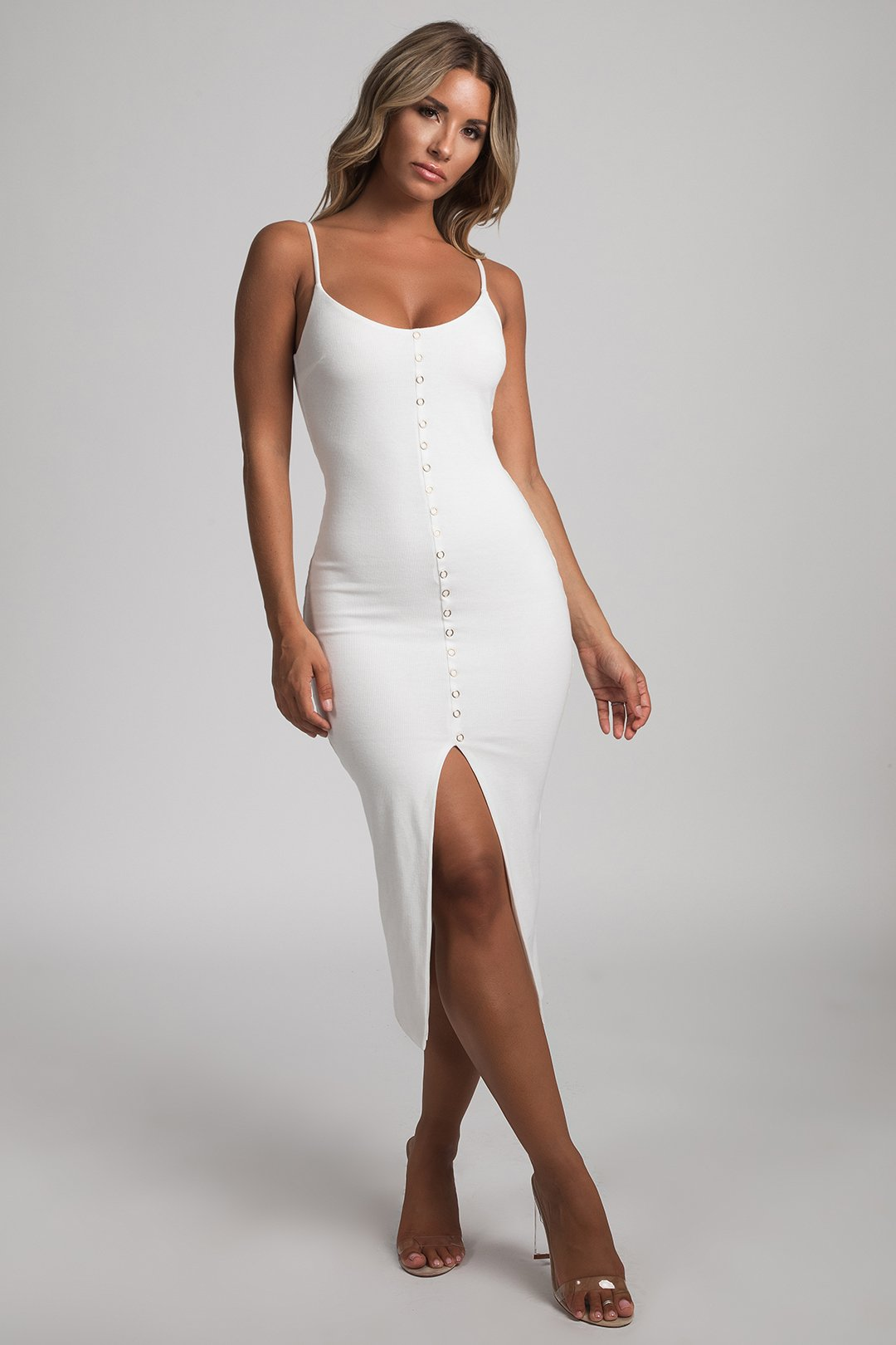 476fae8e8554 Camilla Ribbed Gold Popper Midi Dress - White - MESHKI
