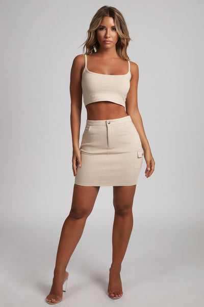 Margaret Cargo Mini Skirt - Sand - MESHKI