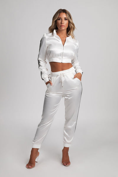 Kylia Satin Sweat Jacket - White - MESHKI