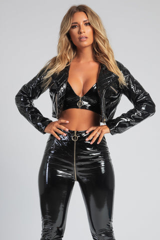 London Cropped Latex Jacket - Black - MESHKI