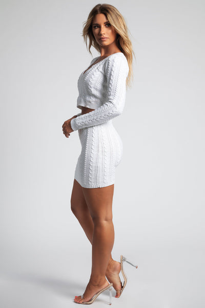 Jenelle Knit V Neck Fitted Jumper - Cream - MESHKI