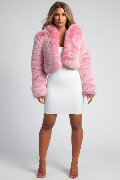 Immi Premium Faux Fur Cropped Hooded Coat - Pink - MESHKI