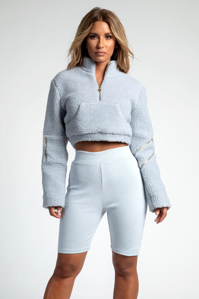Renee Borg Pocket Front Cropped Jumper - Light Grey - MESHKI