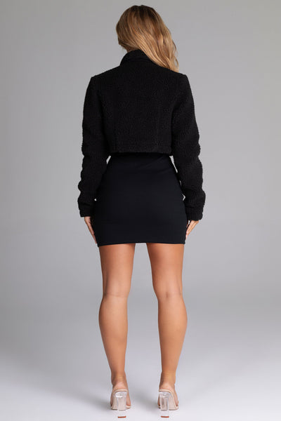 Stacia Borg Popper Front Jacket - Black - MESHKI