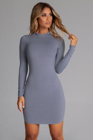 8ea43f62ccbe Kylie Long Sleeve Mini Dress - Grey - MESHKI
