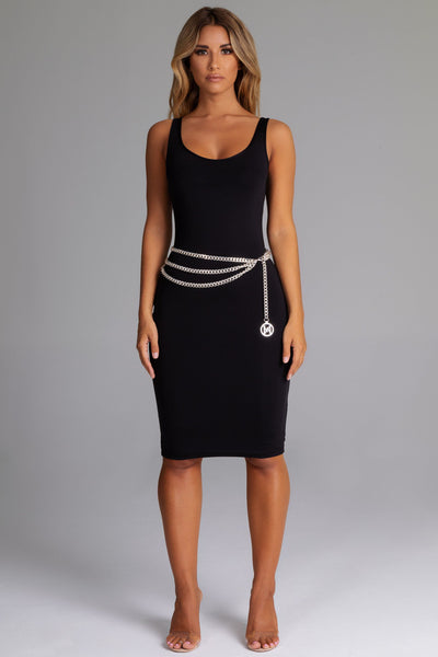 Sammi Scoop Neck & Back Midi Dress - Black - MESHKI