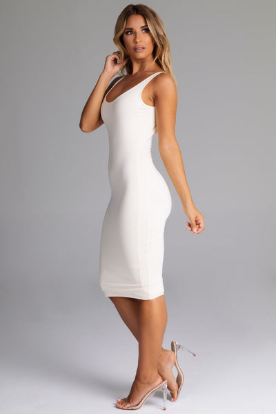 Sammi Scoop Neck & Back Midi Dress - Cream