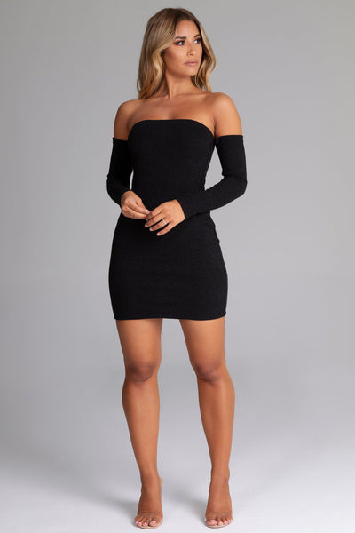 Daidra Rib Knit Off Shoulder Mini Dress - Black - MESHKI