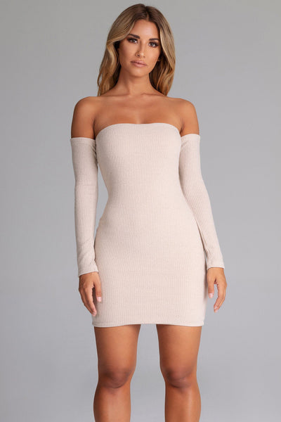 Daidra Rib Knit Off Shoulder Mini Dress - Nude