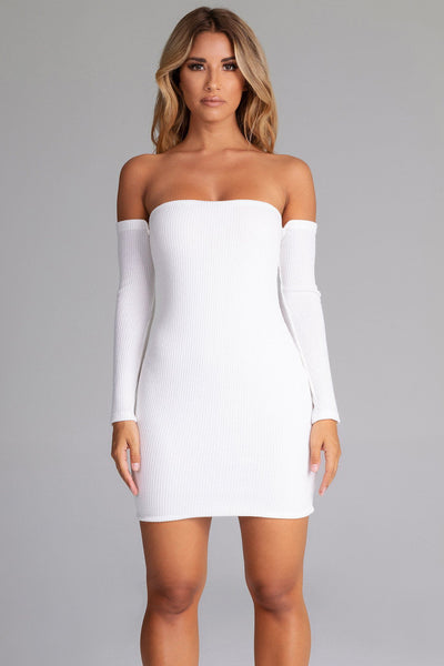 Daidra Rib Knit Off Shoulder Mini Dress - White