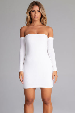 Daidra Rib Knit Off Shoulder Mini Dress - White - MESHKI