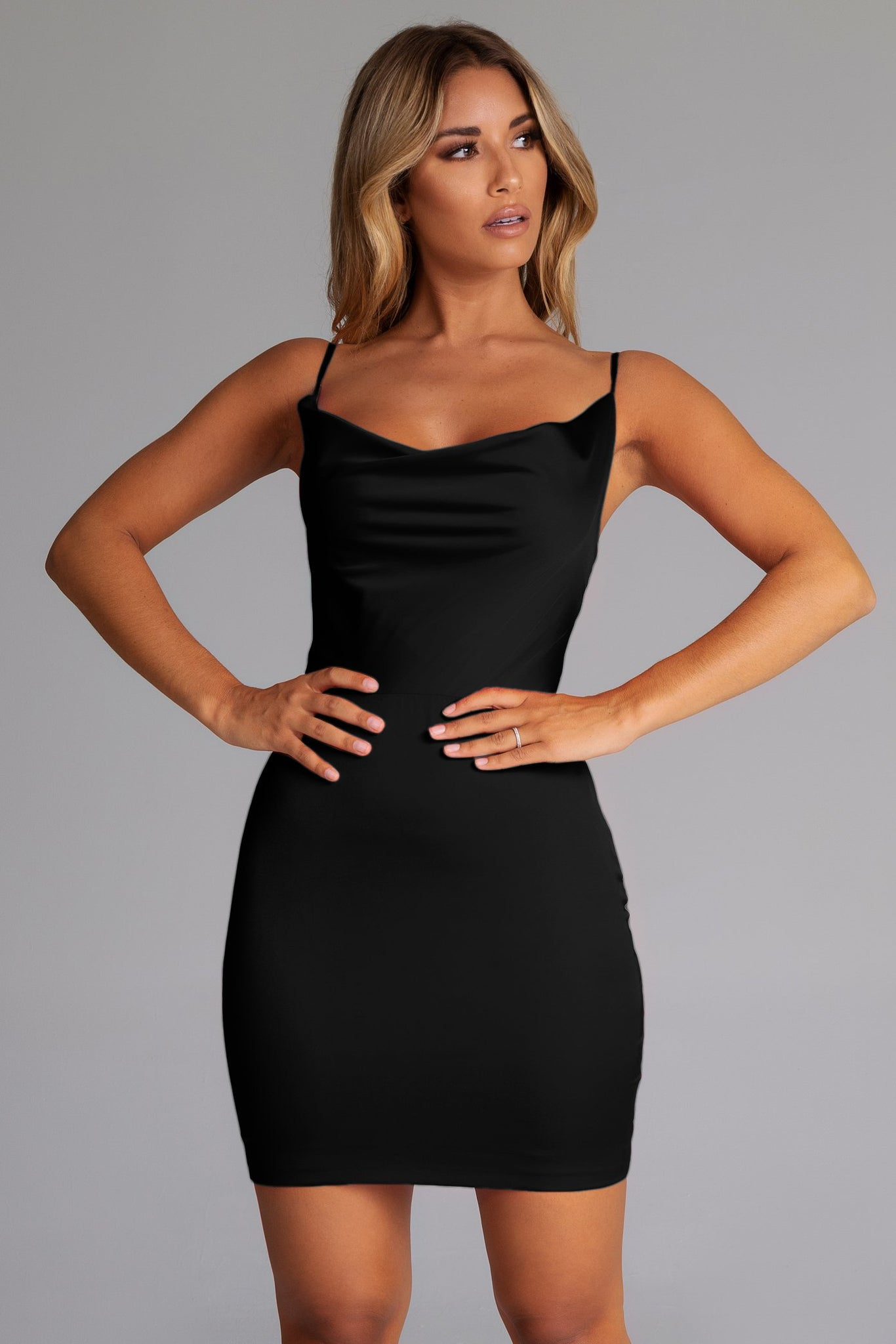 Zoey Cowl Neck Strappy Back Mini Dress - Black - MESHKI
