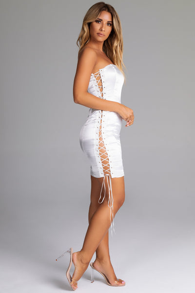 Theresa Lace Up Side Midi Dress - White - MESHKI