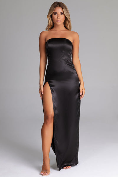 Thelma Satin Strapless Maxi Dress - Black - MESHKI