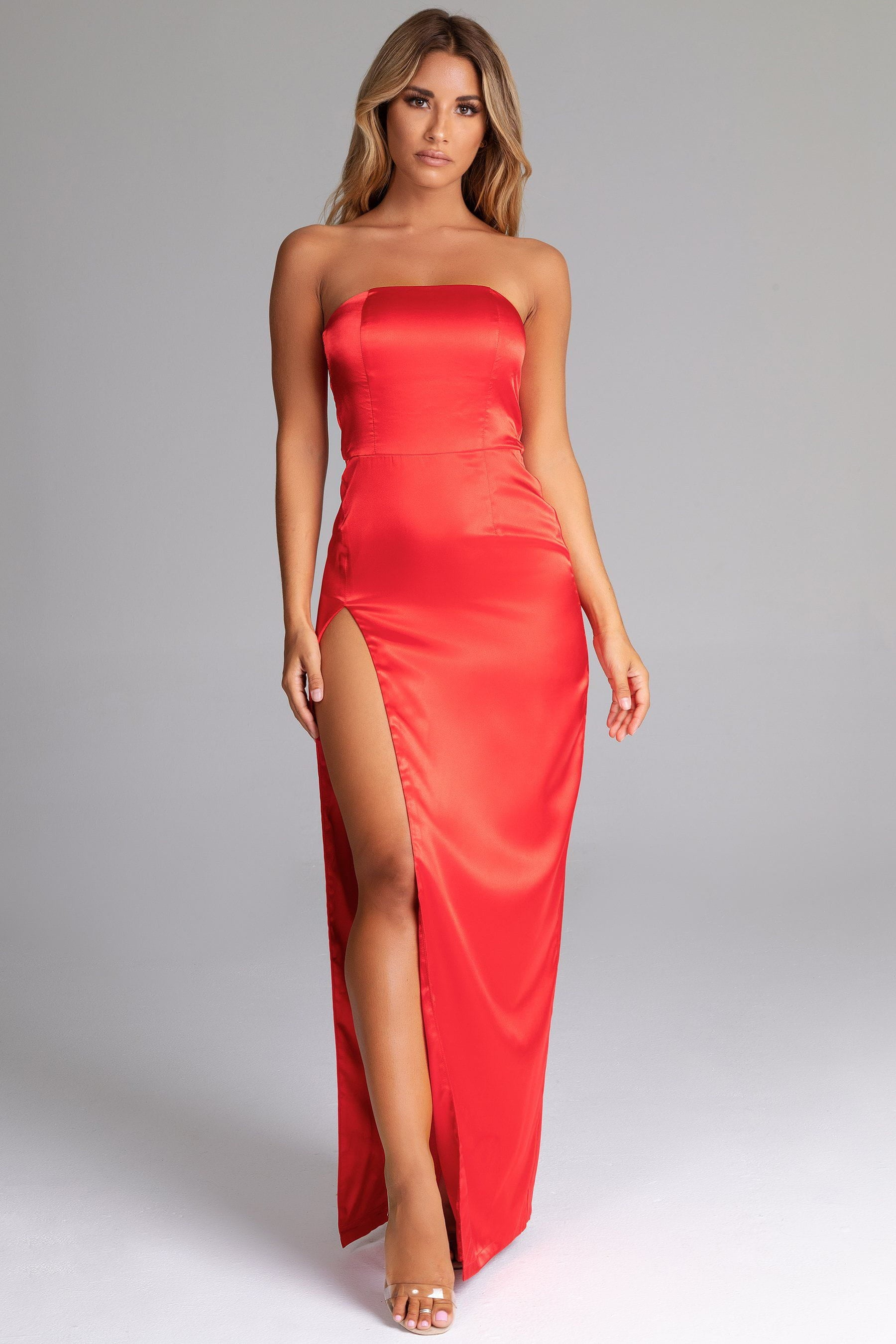 f501c1b18ea4 Thelma Satin Strapless Maxi Dress - Red - MESHKI