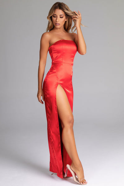 Tight Red Strapless Dress