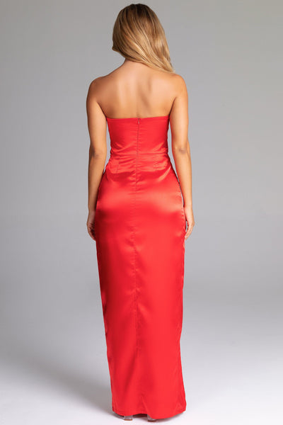 Thelma Satin Strapless Maxi Dress - Red - MESHKI