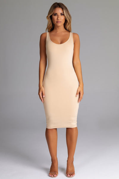 Sammi Scoop Neck & Back Midi Dress - Nude