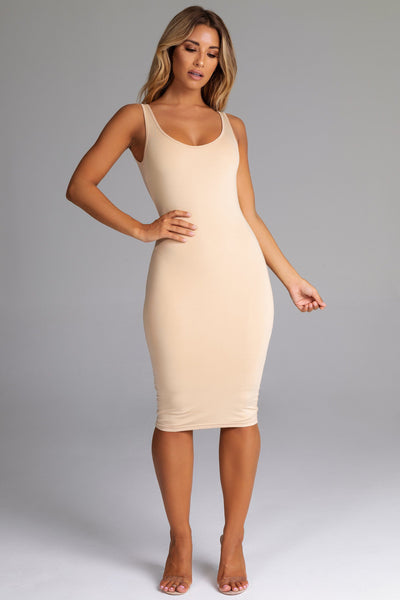 Sammi Scoop Neck & Back Midi Dress - Nude - MESHKI