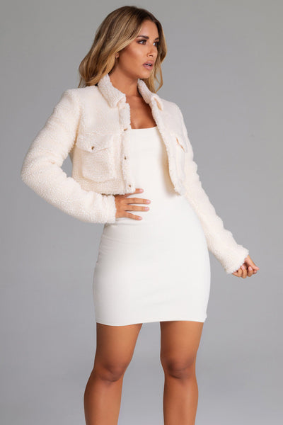 Stacia Borg Popper Front Jacket - Cream - MESHKI