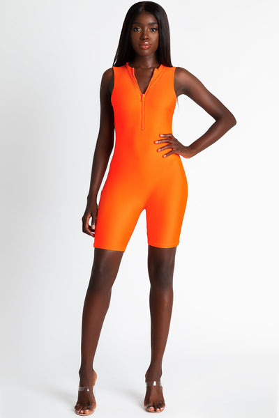Dakota Chunky Zip Front Fitted Playsuit - Neon Orange - MESHKI