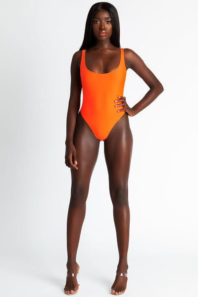 Lana Square Neck Bodysuit - Neon Orange - MESHKI