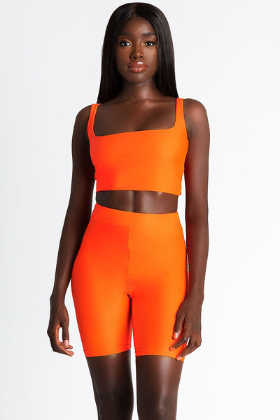 Jazmin Scoop Neck Crop Top - Neon Orange