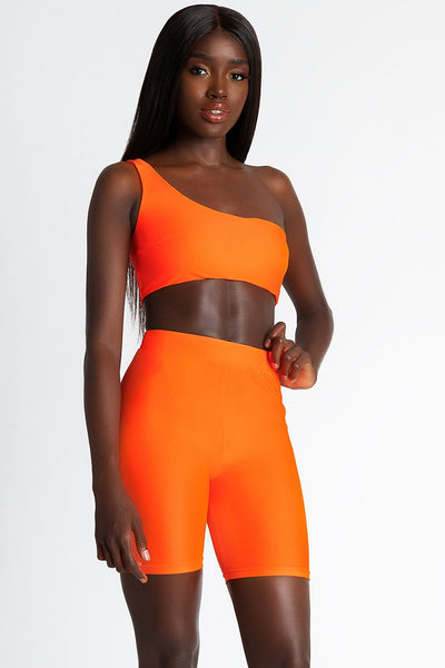 Jenna Slinky Bike Shorts - Neon Orange