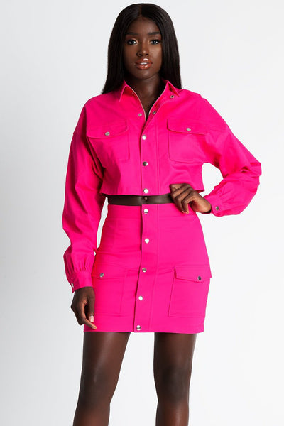 Mira Cargo Popper Skirt - Hot Pink