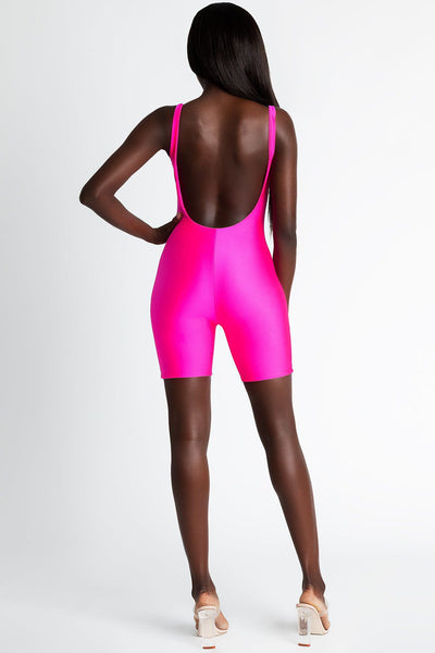 Nyla Cut Out Playsuit - Neon Pink - MESHKI