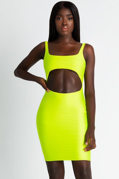 Elliana Cut Out Mini Dress - Neon Yellow