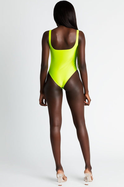 Lana Square Neck Bodysuit - Neon Yellow - MESHKI