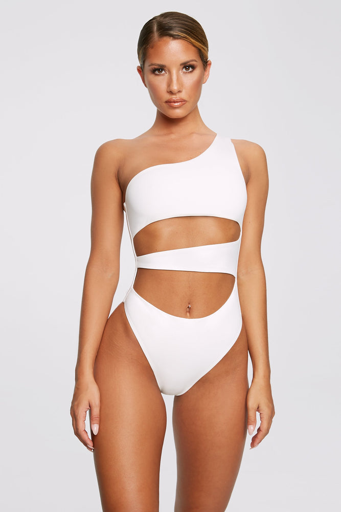 Freya Reversible One Shoulder Swimsuit - White - MESHKI