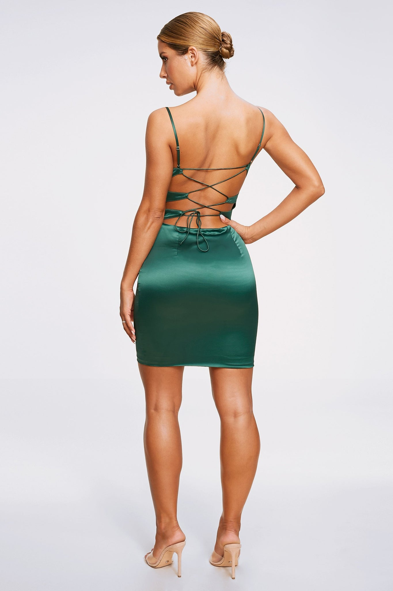 Zoey Cowl Neck Strappy Back Mini Dress - Emerald Green - MESHKI