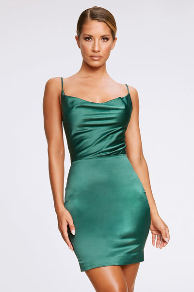 Zoey Cowl Neck Strappy Back Mini Dress - Emerald Green