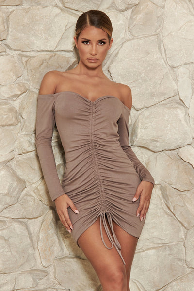 Carmen Ruched Front Mini Dress - Mocha - MESHKI