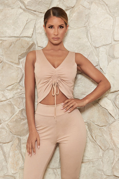 Carmen Ruched Front Sleeveless Crop Top - Nude - MESHKI