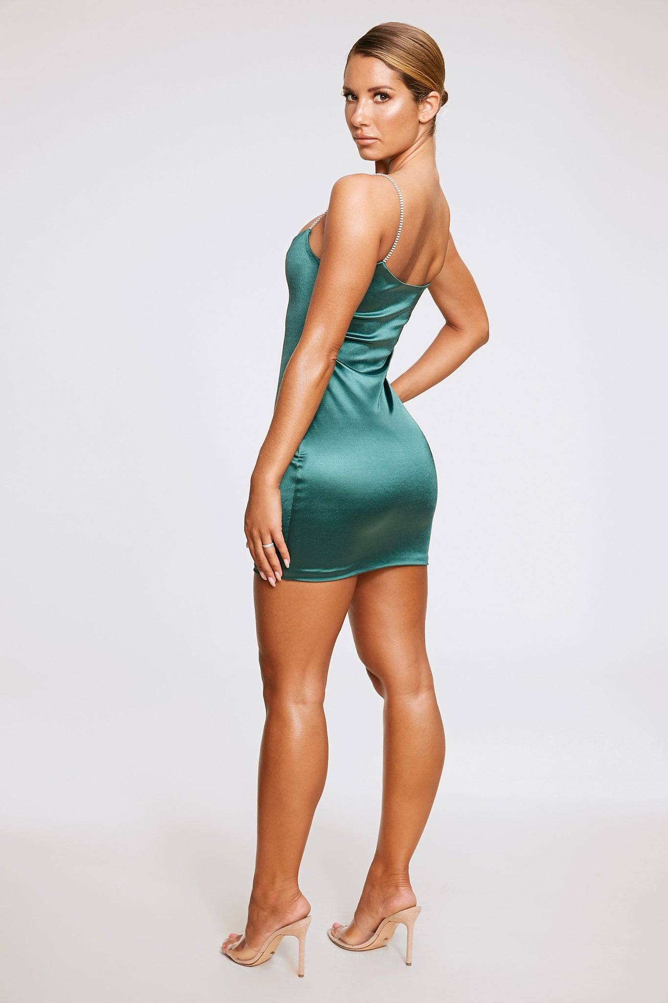 Ruby Diamante Strap Mini Dress - Emerald Green - MESHKI
