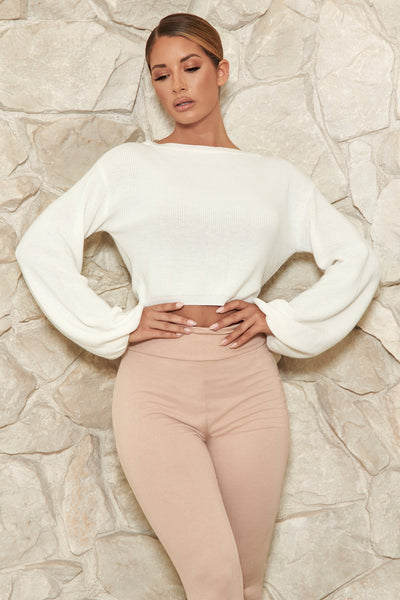 Crystal Cropped Knitted Jumper - White