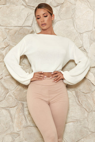 Crystal Cropped Knitted Jumper - White - MESHKI
