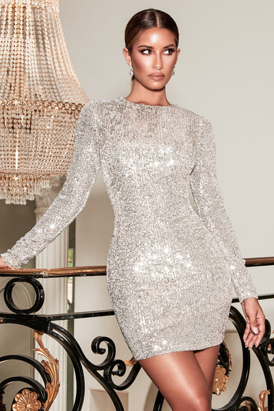 Christina Long Sleeve Dress - Silver