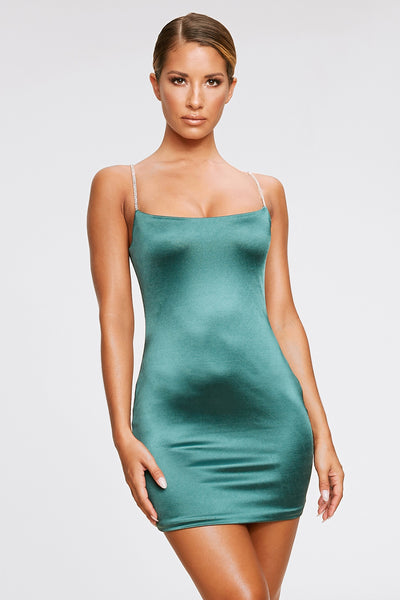 Ruby Diamante Strap Mini Dress - Emerald Green