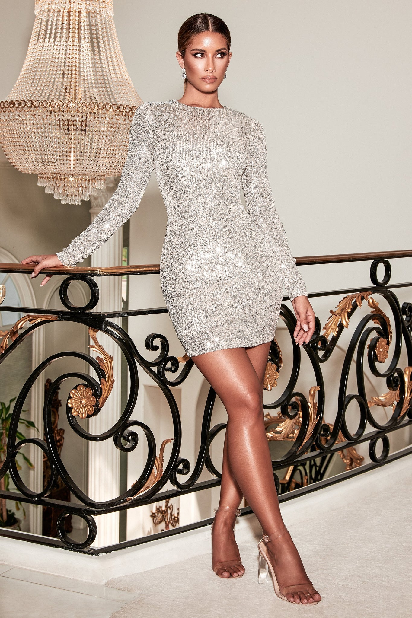 Christina Long Sleeve Dress - Silver - MESHKI