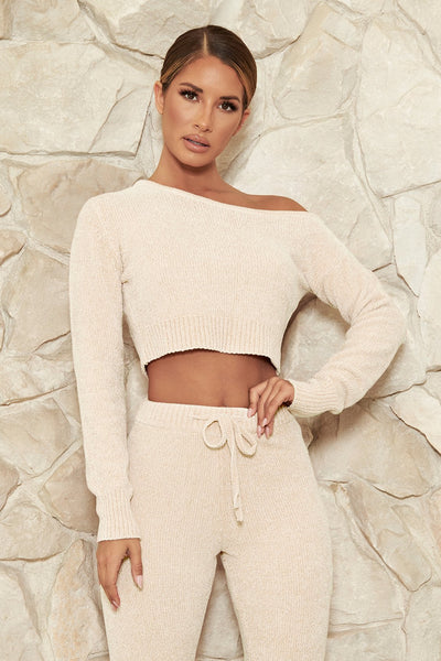 Neema Chenille Off The Shoulder Top - Cream - MESHKI