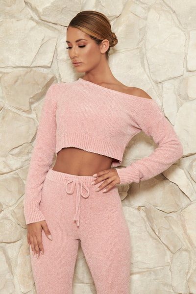 Neema Chenille Off The Shoulder Top - Pink - MESHKI