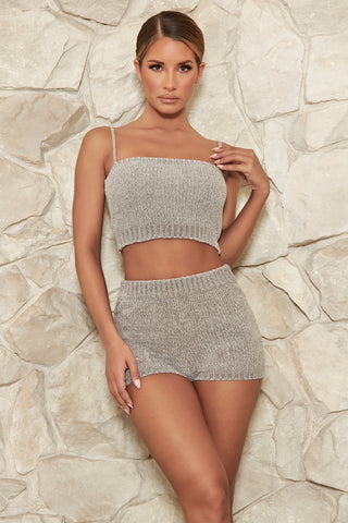 Evelina Chenille Crop Top - Grey - MESHKI
