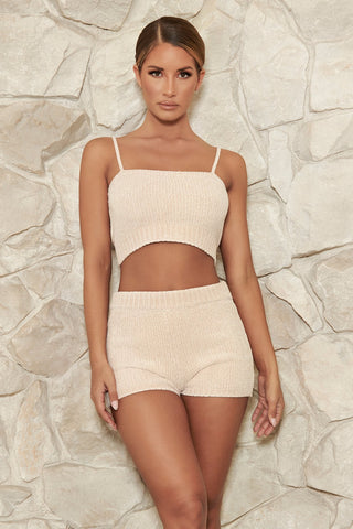Evelina Chenille Crop Top - Cream - MESHKI