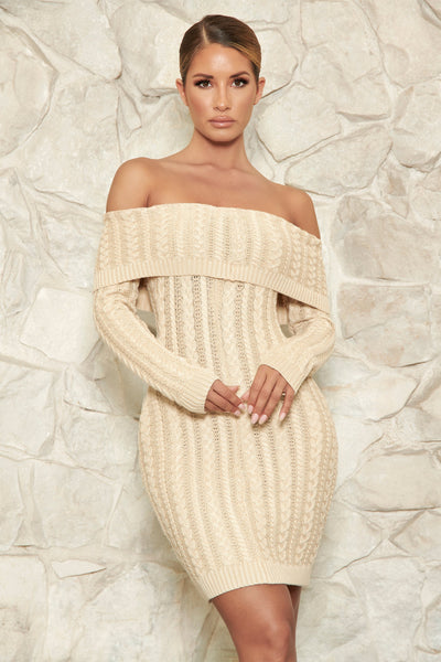 Annalise Cable Knit Off The Shoulder Dress - Nude